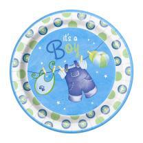 Blue Clothesline Boy Baby Shower Dinner Plates, 8ct