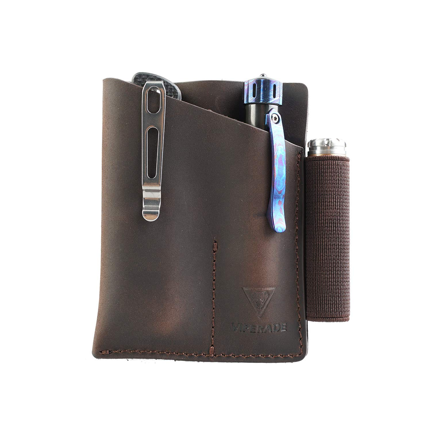 VIPERADE PJ12 Small EDC Leather Pocket Organizer for AA/AAA Flashlights, Mini Pocket Knives, Double EDC Pocket Leather Slip, Knife Organizer Leather Sheath, Flashlight Leather Holster with Clip(Brown)