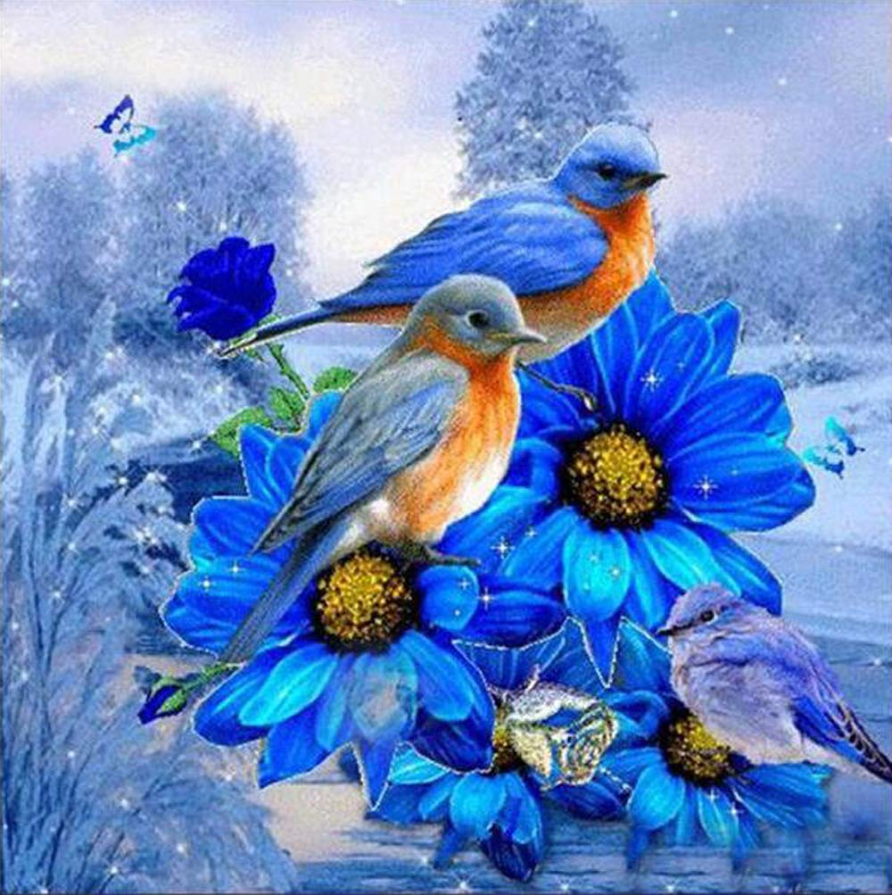 MXJSUA DIY 5D Special Shape Diamond Painting by Number Kit Crystal Rhinestone Round Drill Picture Art Craft Home Wall Decor 12x12In Blue Flower Blue Bird