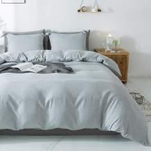 Miffrovn Grey Duvet Cover Set Twin(90x66 Inch, 2pcs (1 Pillowcase, 1 Duvet Cover) Solid Microfiber Bedding Set, Soft Breathable Hypoallergenic Easy Care Duvet Cover (No Comforter)