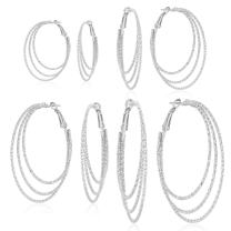 Hoop Earrings For Women Girl Silver Gold Tone Plate Round Fashion Jewelry Set 4 Pairs Various Sizes