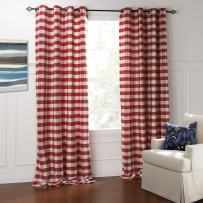 """IYUEGO Modern Classic Red and White Plaid Jacquard Eco-Friendly Grommet Top Lining Blackout Curtains Draperies with Multi Size Custom 42"""" W x 96"""" L (One Panel)"""