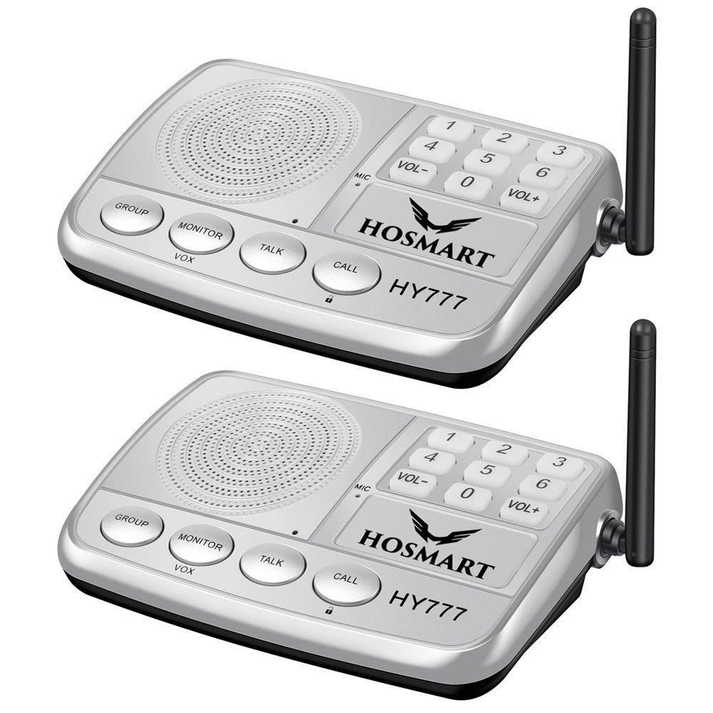 Wireless Intercom System Hosmart 1/2 Mile Long Range 7-Channel Security Wireless Intercom System for Home or Office (2019 New Version) 2 Station Silver