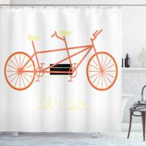 """Ambesonne Bicycle Shower Curtain, Lets Bike Hand Lettering Words and Retro Vehicle Summertime Hobby, Cloth Fabric Bathroom Decor Set with Hooks, 84"""" Long Extra, Pale Yellow"""