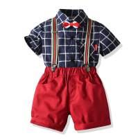 Toddler Little Boy Dinosaur Shirt Suits,Summer Childs Gentleman Outfits Cartoon Bowtie T-Shirt Top+Suspender Strap Short Set