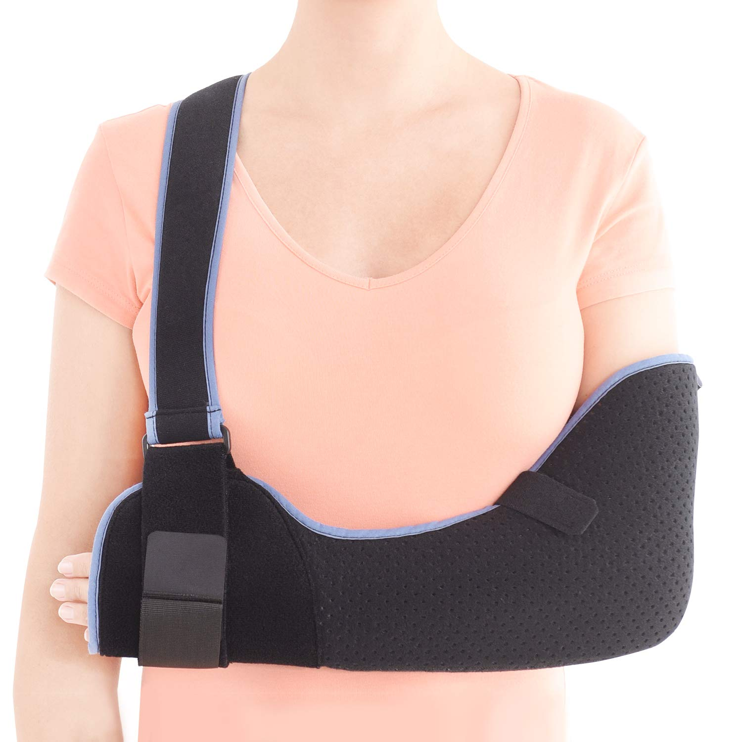 Velpeau Arm Sling Shoulder Immobilizer - Rotator Cuff Support Brace - Comfortable Medical Sling for Shoulder Injury, Left and Right Arm, Men and Women, for Broken, Dislocated, Fracture, Strain (Large)