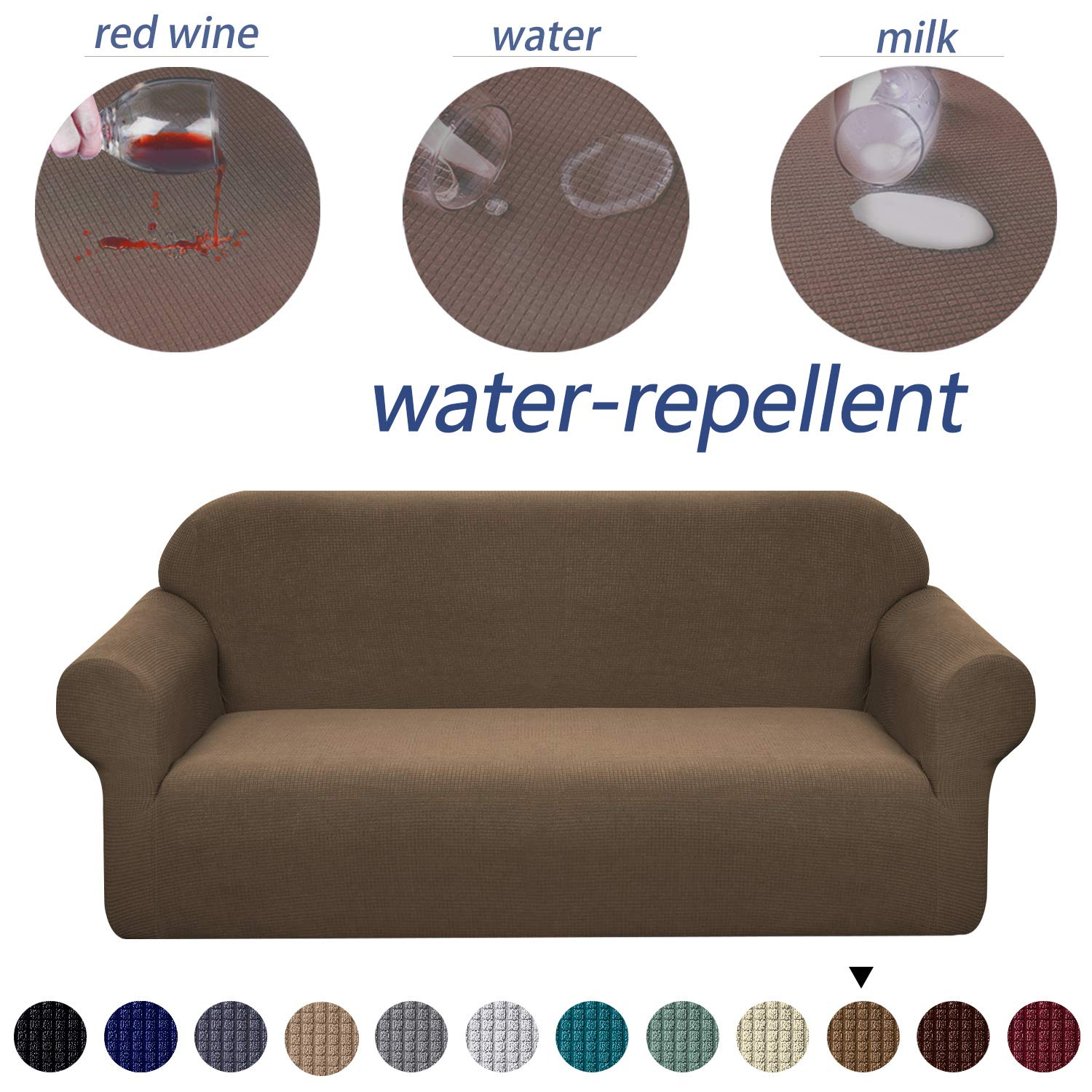 Granbest Premium Water Repellent Sofa Cover High Stretch Couch Slipcover Super Soft Fabric Couch Cover (Coffee, Sofa)