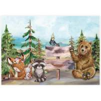 Allenjoy 7x5ft Cartoon Woodland Themed Backdrop Supplies for Newborn Kids Children 1st Birthday Party Decorations Jungle Safari Baby Shower Studio Cake Smash Pictures Photoshoot Props Favors Banners