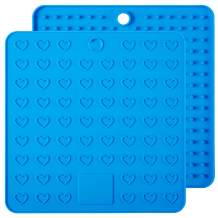 ME.FAN Silicone Pot Holder & Trivets - 2 Set Silicone Hot Pads,Potholders and Hot Mitts, Insulated, Flexible, Durable, Non Slip Spoon Rest and Large Coasters (Blue)