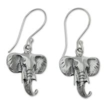 NOVICA .925 Sterling Silver Dangle Earrings 'Balinese Elephants'