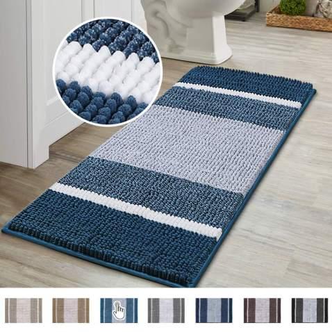 Flamingo P Luxury Chenille Plush Bath Rug, Gradient Blue Stripe Pattern Non Slip Absorbent Super Cozy Shaggy Bath Mat, Machine Washable Soft Microfiber Bathroom Mat for Tub Shower, (47×17 inch, Blue)
