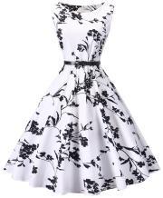 I2CRAZY Womens Boatneck Sleeveless Vintage 1950s Retro Rockabilly Prom Tea Dress with Belt  ,3X , F02
