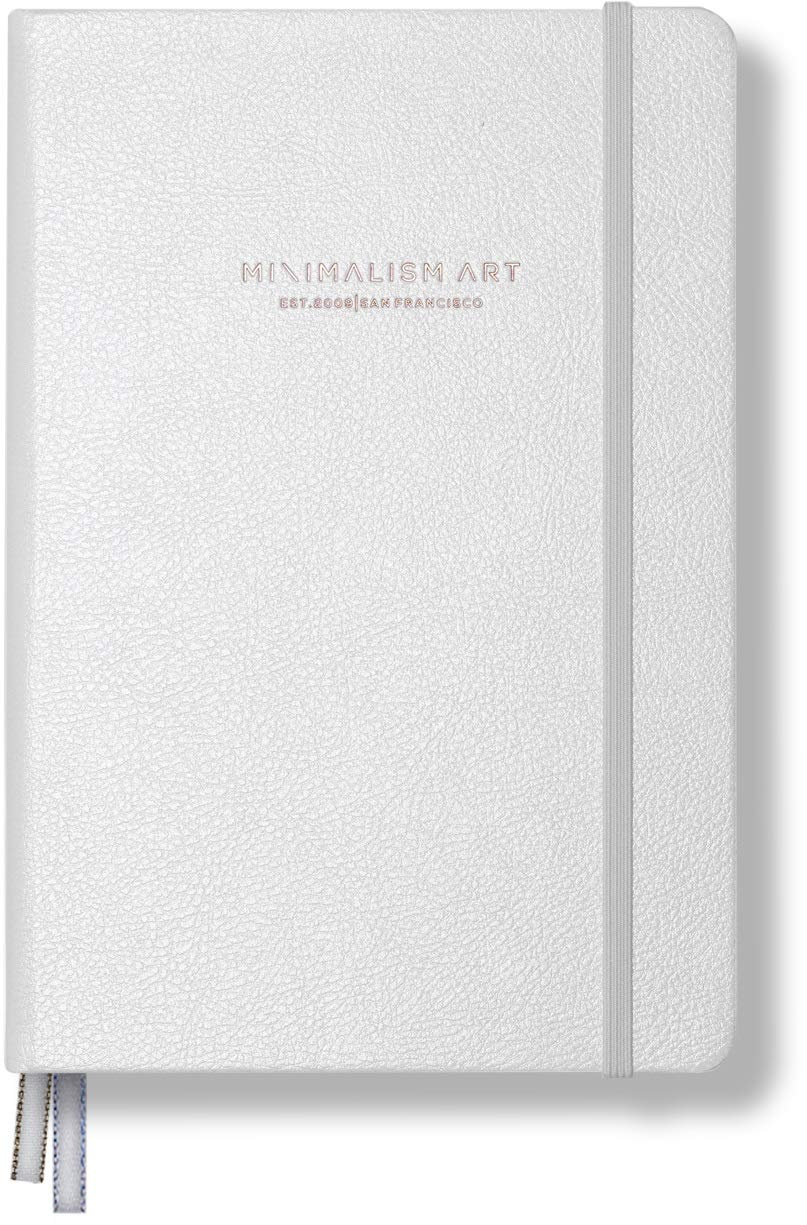 """Minimalism Art, Premium Hard Cover Notebook Journal, Medium, A5 5.8"""" x 8.3"""", Plain Blank Page, White, 234NumberedPages, GussetedPocket, Ribbon Bookmark, Ink-ProofPaper120gsm"""
