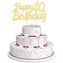 Happy 40th Birthday Cake Topper - Gold Birthday Cake Decorations for the 40 Year Old Birthday, with Glittering