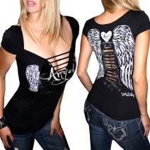 Demi Loon Sexy Biker Babe Tee Slashed Cut Out Angel Wings Skull Tattoo Shirt Ladies Motorcycle T-Shirt