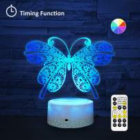 [Wall Adapter Included] Remote & Touch Control LED Butterfly Night Light with Timer Dimmable Bedside Table Desk Lamp 7 Color Changing Nightlights for Nursery Kids Bedroom Living Room