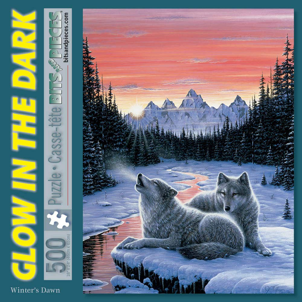 Bits and Pieces - 500 Piece Glow in The Dark Jigsaw Puzzle for Adults - Winter's Dawn Glow - 500 pc Jigsaws by Artist Jeff Tift