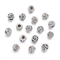 Beadthoven 100pcs Zinc Alloy Hollow European Beads Mixed Tibetan Style Large Hole Beads for European Bracelet Necklace Making, Lead Free & Nickel Free, Antique Silver