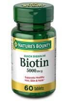 Nature's Bounty Biotin Supplement, Supports Healthy Hair, Skin and Nails, 5000mcg, 60 Tablets
