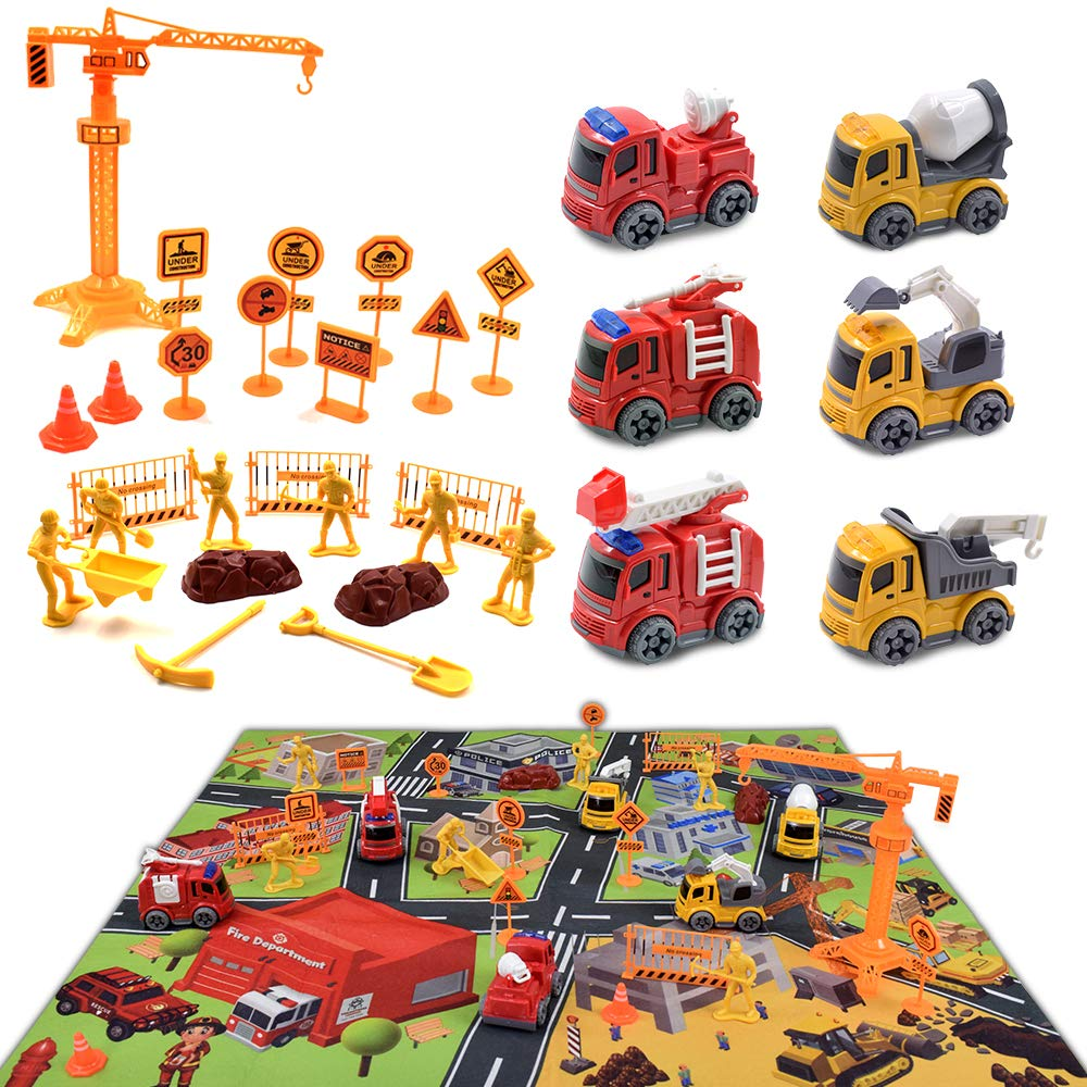 GEERTOP Construction Vehicle Toys with Play Mat - 31 Pieces Mini Diecast Cars Engineering Truck Playset for Kids Boys Girls Birthday