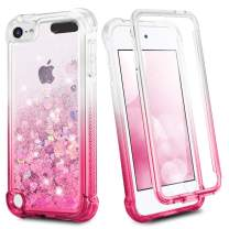 iPod Touch 7 6 5 Case, Ruky iPod Touch 7th 6th 5th Generation Full Body Glitter Case for Girls with Built in with Screen Protector Shockproof Protective Girls Case (Gradient Pink)