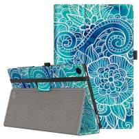 VORI Case for All-New Amazon Fire HD 10 Tablet (9th/7th/5th Generation,2019/2017/2015 Release), Folio Folding Smart Stand Cover with Hand Strap and Auto Wake/Sleep for Fire HD 10.1'', Abstract floral