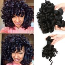 Aliglossy Bouncy Curly Hair 4 Piece 8A Brazilian Virgin Hair Weave Bundles Funmi Hair 8-22 inch Natural Color Human Hair Extensions Can Be Dyed