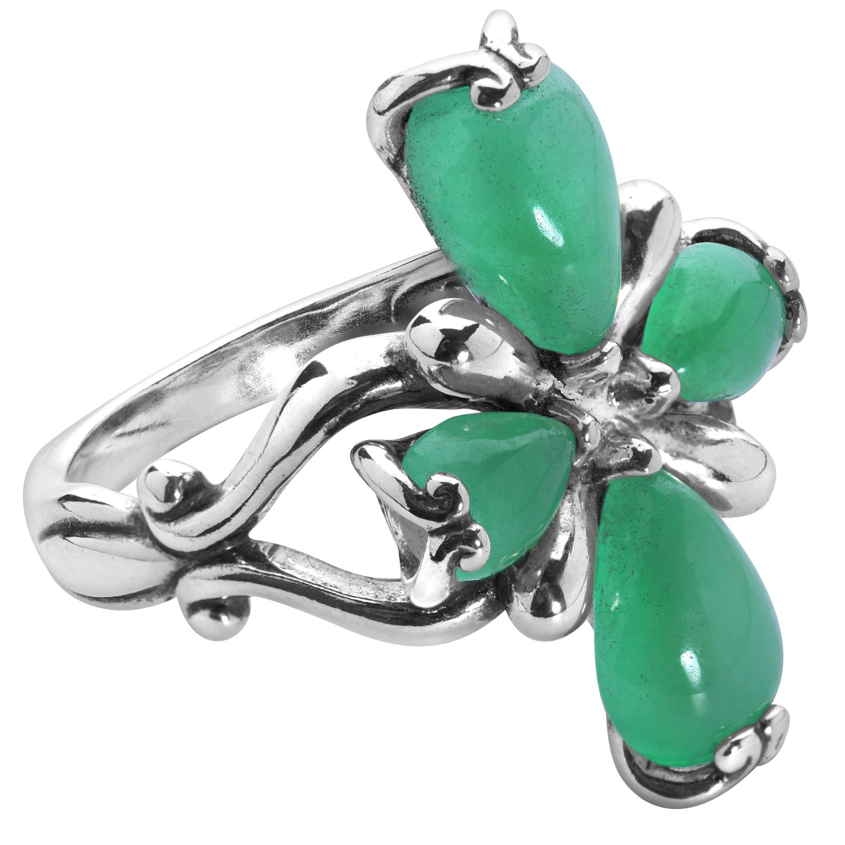 Carolyn Pollack Sterling Silver Gemstone 4 Petal Cross Ring Size 5 to 10 - Choice of Gemstone