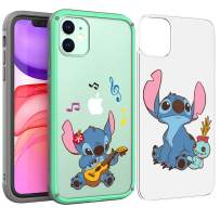 PICAVINCI SwitchME iPhone 11 Case, Lilo Stitch Play Guitar Cute Cartoon Blue Clear Matte Hybrid Protective Cover