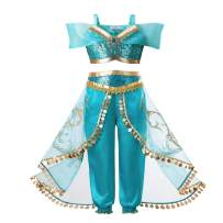 INGSIST Girls Princess Dress Up Costumes Halloween Party Fancy Dress with Wig