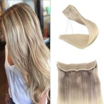 Full Shine Halo Hair Extensions Nordic 12 Inch Remy Human Hair Transparent Fish Wire Color 18 Ash Blonde Fading To 22 And 60 Platinum Blonde Fish Wire Extensions 70 Grams Natural Straight
