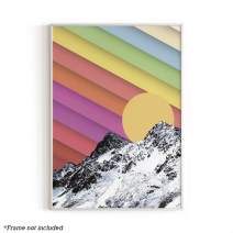 "Trippy Mountain Wall Art Room Decor By Haus and Hues | Artwork for Walls, Colorful Nature Wall Decor, Cool Art Posters, Trippy Posters, Dorm Room Accessories, Rainbow Art, 12"" x 16"" (Rainbow Mountain)"