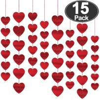 15 Pcs Heart Shape Hanging String Garland Kids Party Decor Valentine's Day Decorations (Each 6.6ft) DIY Glittery Background Decoration for Wedding birthday Home Festival Supplies (Total 90 Hearts)