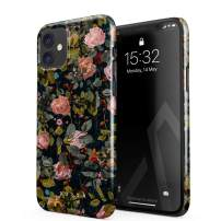 BURGA Phone Case Compatible with iPhone 11 - Cherries Blossom Floral Print Pattern Vintage Flowers Peony Cute Case for Women Thin Design Durable Hard Plastic Protective Case