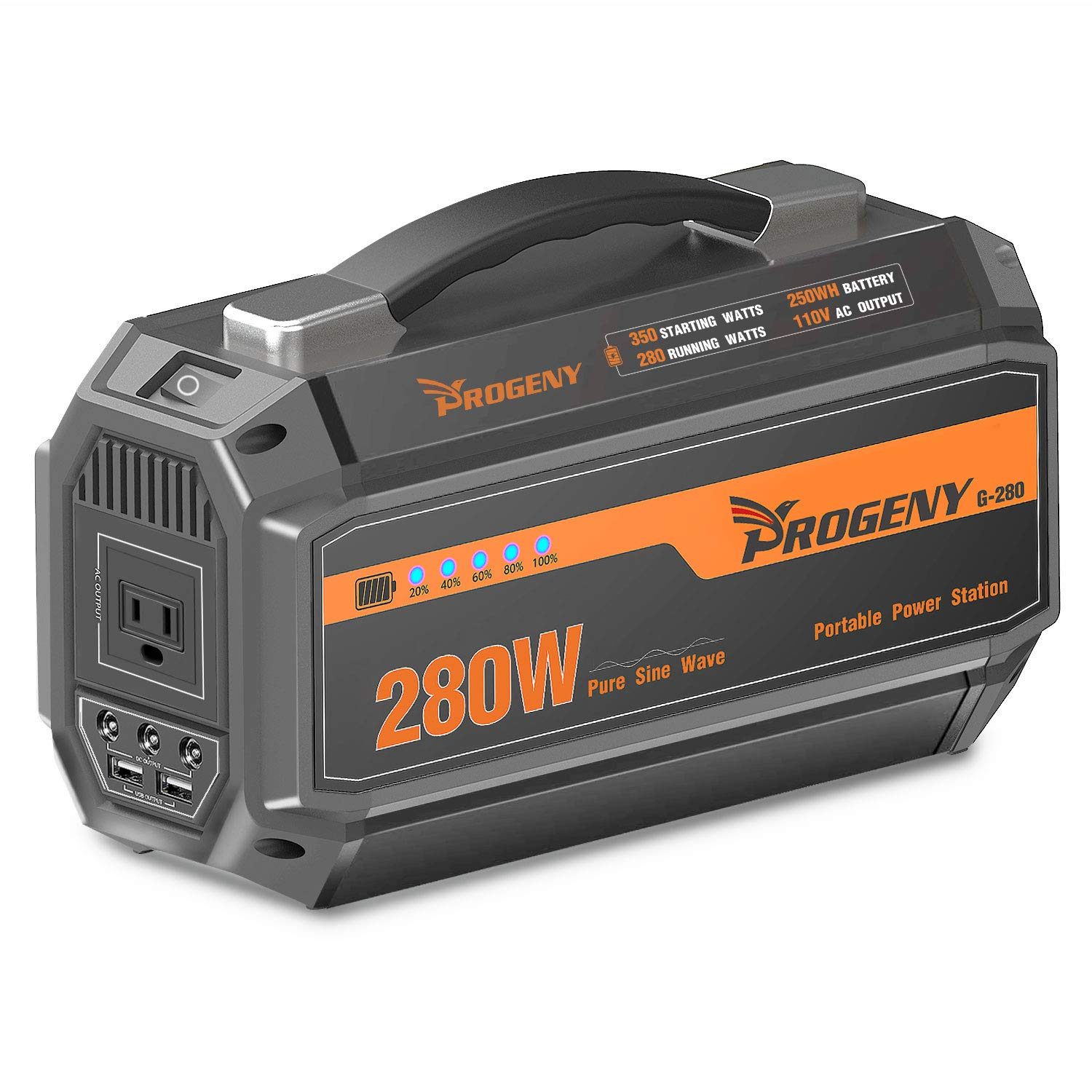 PROGENY 280W Generator Portable Power Station- [ Upgraded 250Wh / 67500mAh ]-Lithium Battery Pack Supply with 110V AC Outlet, 3 DC 12V Ports, 2 USB, Solar Generators for Camping CPAP Emergency Home
