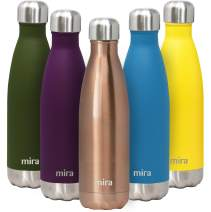 MIRA 17 Oz Stainless Steel Vacuum Insulated Water Bottle - Double Walled Cola Shape Thermos - 24 Hours Cold, 12 Hours Hot - Reusable Metal Water Bottle - Leak-Proof Sports Flask - Rose Gold
