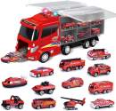 """FUN LITTLE TOYS 12 in 1 Die-cast Fire Truck Toys, 16"""" Transport Fire Truck Carrier with Fire Engine Cars, Firetruck for Boys & Kids"""