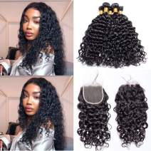 Maxine Malaysian Water Wave Wet And Wavy Virgin Human Hair Weave with Closure 4x4 Free Part Lace Closure with Baby Hair (12 14 16 with 10)