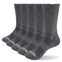 YUEDGE Men's 5 Pairs/Pack Athletic Sports Workout Socks Performance Moisture Wicking Cotton Cushion Crew Socks