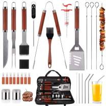 SixSun 30PCS BBQ Grill Tools Set Wooden Handle Stainless Steel Grilling Accessories with Spatula, Tongs, Skewers for Barbecue, Camping, Kitchen, Complete Premium Grill Utensils Set - Red
