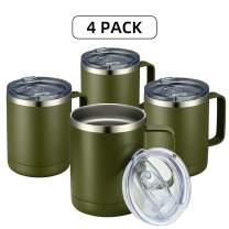 MEWAY 12oz Coffee Mug With Handle and Sliding Lid,Stainless Steel Travel Tumblers 4 Pack Bulk,Double Wall Vacuum Insulated Camping Cup for Hot & Cold Drinks Tea (Army Green,Set of 4)