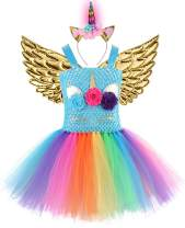 Baby Girls Rainbow Unicorn Dress with Wings LED Headband for Birthday Party Flower Princess Tutu
