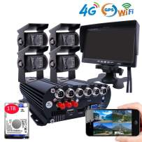 JOINLGO 4CH 4G GPS WiFi 1080P AHD Mobile Vehicle Car Dvr Security Camera System with 1TB Hard Drive 4Pcs 2.0MP Car Cameras with Night Vision, Weatherproof, Motion Detection, Remote Monitor for Truck