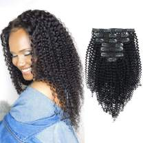 Sassina Real Thick Kinky Curly Clip in Human Hair Extensions Natural Color 3B 4A For African American Black Women 7Pcs-lot 120Grams-set With 17 Clips, KC 18 Inch