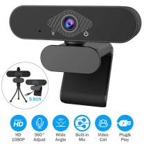 Webcam with Microphone, 1080P Full HD Webcam Streaming Computer Web Camera USB Computer Camera with Free Tripod and Privacy Cover, 5.91ft USB Cable for PC Laptop Desktop Video Calling,Conferencing