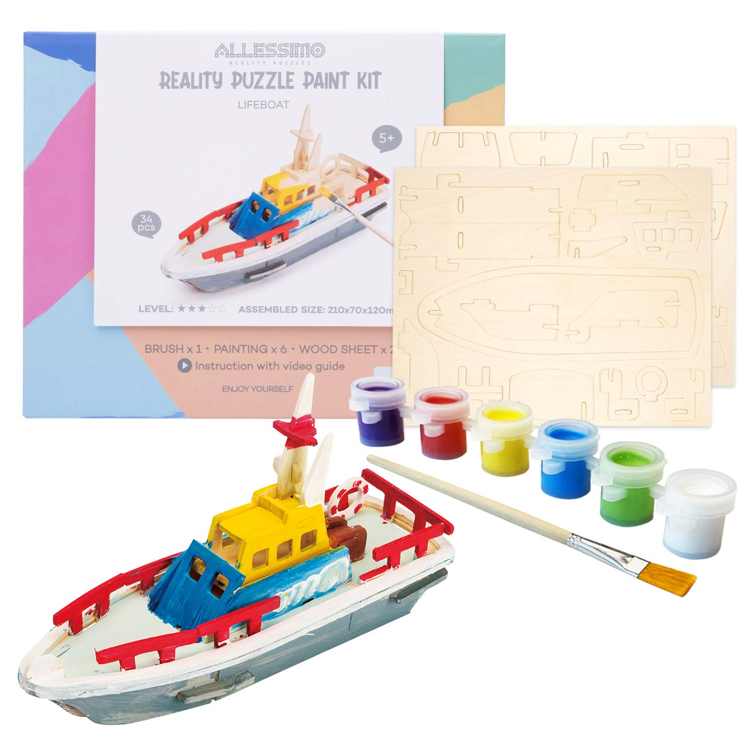 Allessimo Reality Puzzles 3D Wooden Model Paint Kit (Lifeboat - 34 pc Puzzle) Toys for Kids & Adults DIY Puzzle Build 3D Puzzles Paint Kits