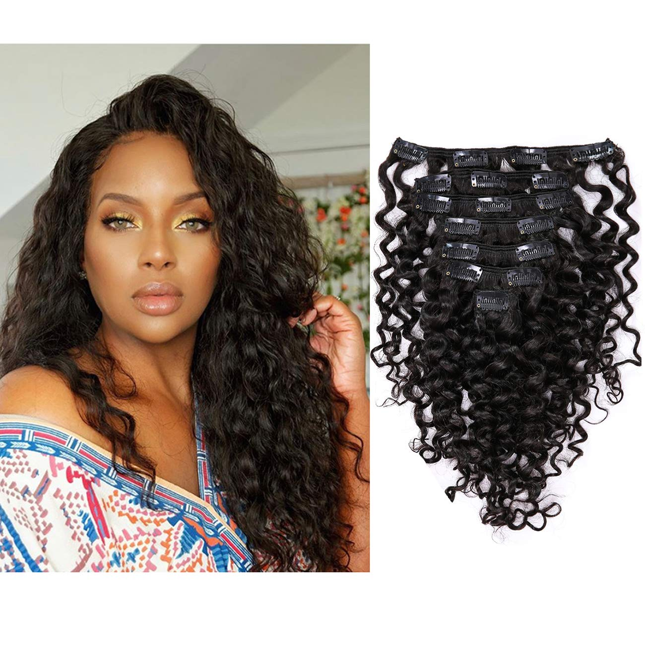 Water Wave Big Curly Clip in Remy Human Hair Extensions Real Thick Double Weft 3A 3B Brazilian Virgin Hair 9A Kinky Style Natural Color Clip-ons For Black Women 7 Pieces 120g with 17Clips 20 inch