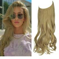 KOODER Hair Extension Curly Long Synthetic Hairpiece Ash Blonde Highlight 18 Inch 4.2 Oz Hidden Wire Headband for Women Heat Resistant Fiber No Clip (24#)