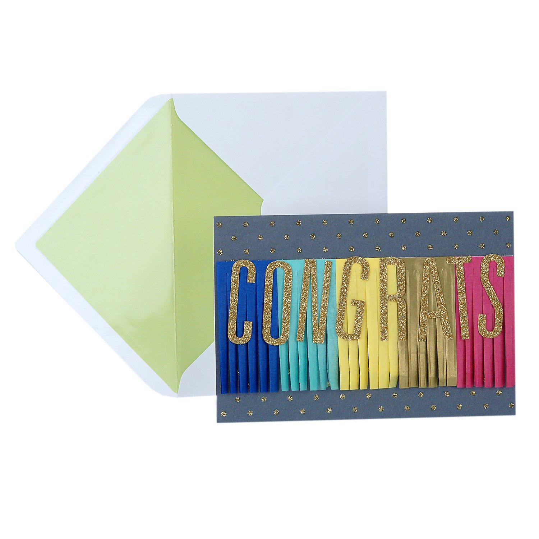 Hallmark Signature Graduation Card (Congratulations Rainbow Paper Streamer Banner)