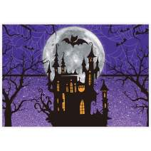 Allenjoy 7x5ft Halloween Backdrop for Girl Birthday Party Moonlight Castle Children Purple Photography Background Trick or Treat Banner Newborn Baby Shower Home Decor Photoshoot Studio Props Cloth